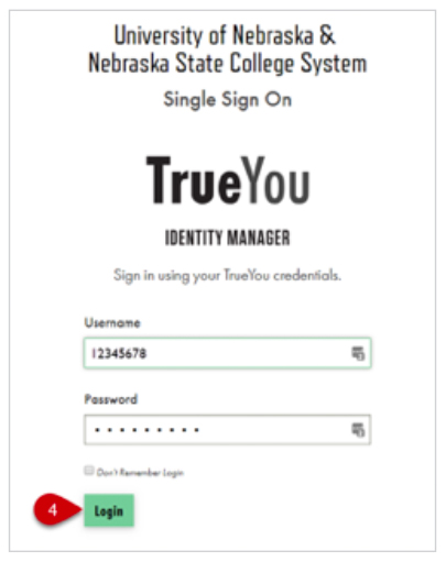 TrueYou Login Screen