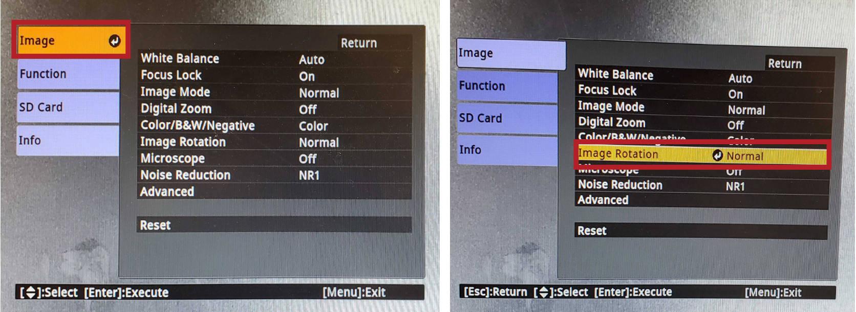 Doc Cam image menu photo